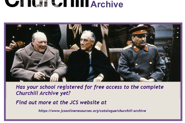 Image of Churchill, Rooseveldt and Stalin. Has your school registered for free access to the Churchil Archive yet? Find out more at https://www.jcsonlineresources.org/catalogue/churchill-archive