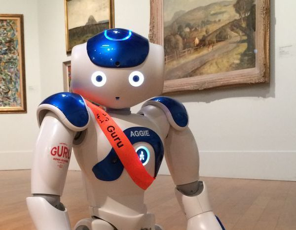 Image: Aggie can show people around, sing, dance, and even tell a joke or two (Claire Nichols / ABC RN) from: https://www.abc.net.au/radionational/programs/breakfast/aggie-the-robot/7424328