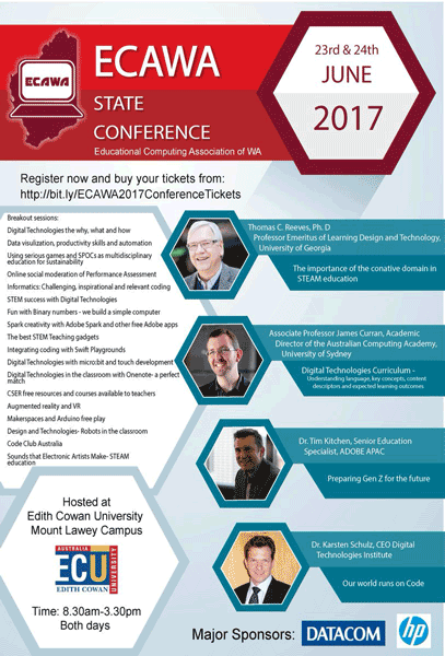 ECAWA 2017 State Conference poster - Poster lists titles of Breakout Sessions on the left and Keynote Speakers and their topics on the right. All information is available on this and the linked pages.
