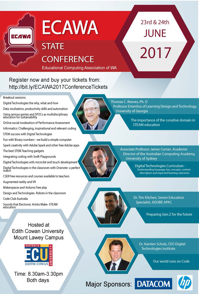 ECAWA 2017 State Conference poster - Apologies - no alternative text for this image has been made available to date. Please contact conference@ecawa.wa.edu.au or Shaloni Naik for further information.