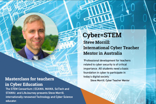 "The STEM Consortium ( ECAWA, MAWA, SciTech and STAWA) and LifeJourney presents Steve Morrill, internationally renowned Technology and Cyber Science educator. Steve Morrill is currently the Director of Technology and Cyber Science at Loyola Blakefield in Towson Maryland. Prior to joining Loyola Blakefield, Steve spent 13 years managing and teaching technology in higher education. Steve is transforming school curriculum through cyber education that inspires students to be internet savvy and creative with technology. ""Our GenCyber are the next wave leaders: empowered, innovative, problem solvers."""