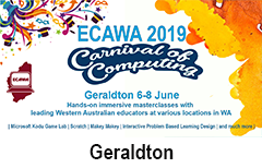 ECAWA 2019 A Carnival of Computing - in Geraldton See http://ecawa.wa.edu.au/conferences/2019-carnival-of-computing/2019-carnival-of-computing-geraldton/