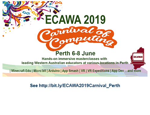 ECAWA 2019 Carnival of Computing - in Perth! See https://bit.ly/ECAWA2019Carnival_Perth